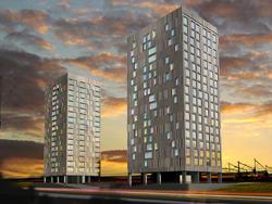 Vier nieuwe woontorens langs Haagse Waldorpstraat